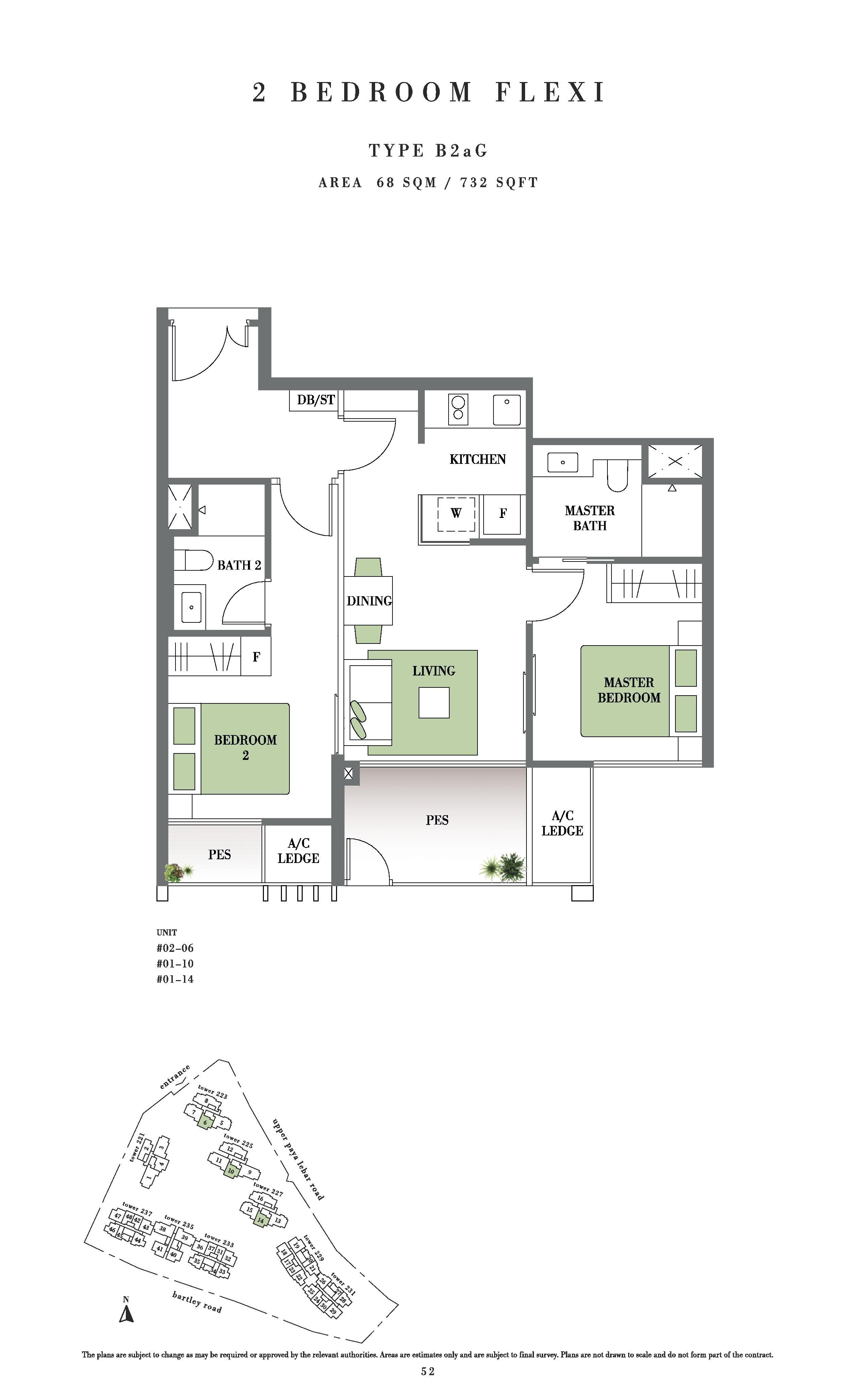 Botanique @ Bartley 2 Bedroom Flexi PES Floor Plans Type B2aG
