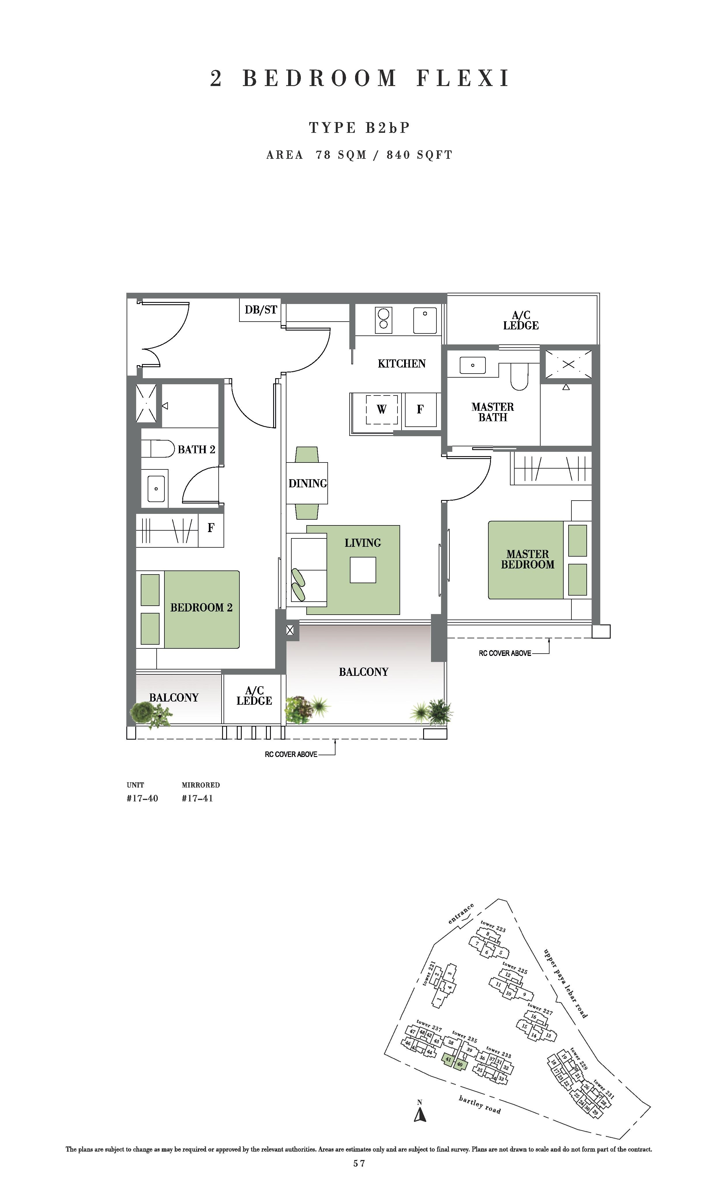 Botanique @ Bartley 2 Bedroom Flexi Floor Plans Type B2bP