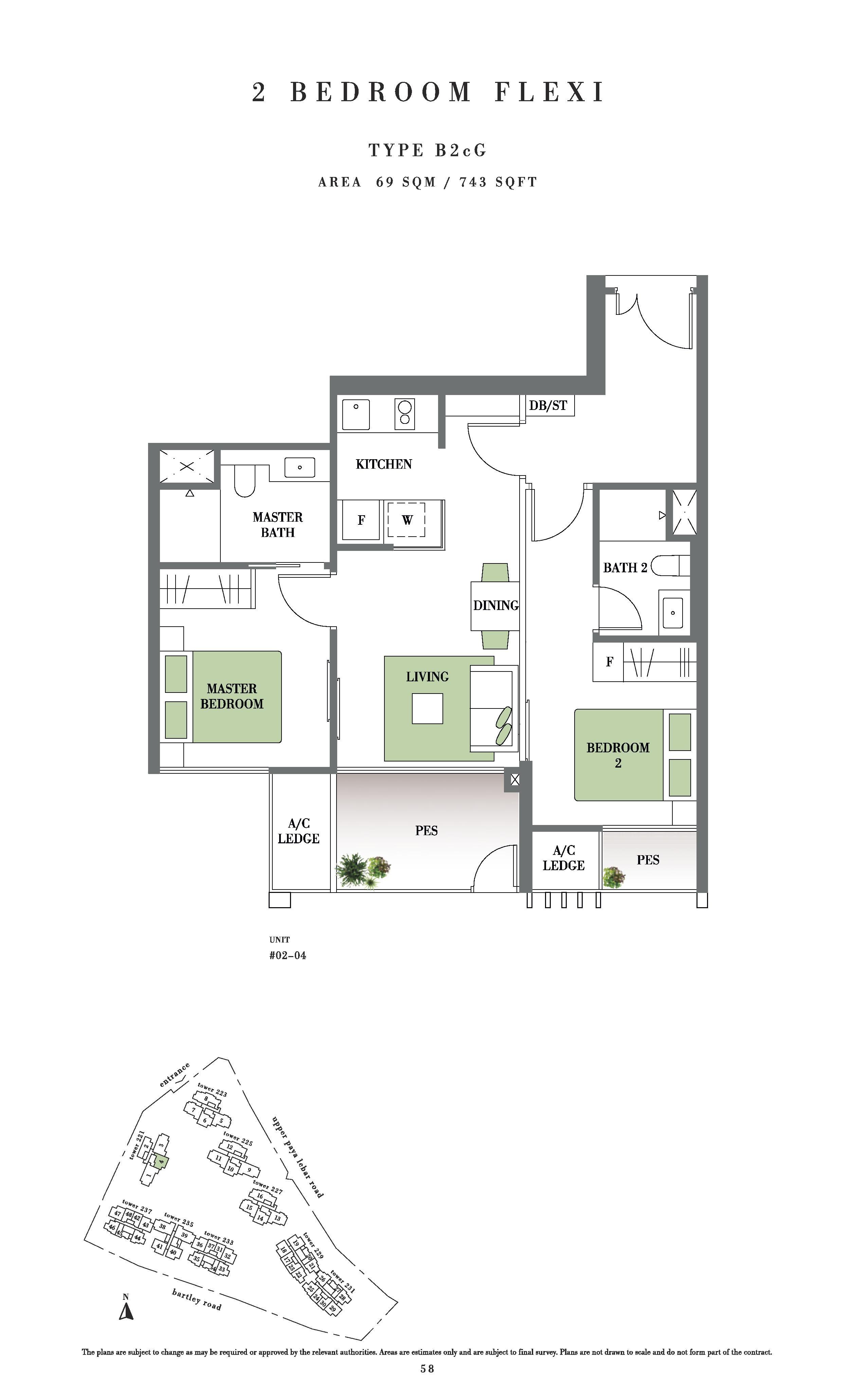 Botanique @ Bartley 2 Bedroom Flexi PES Floor Plans Type B2cG