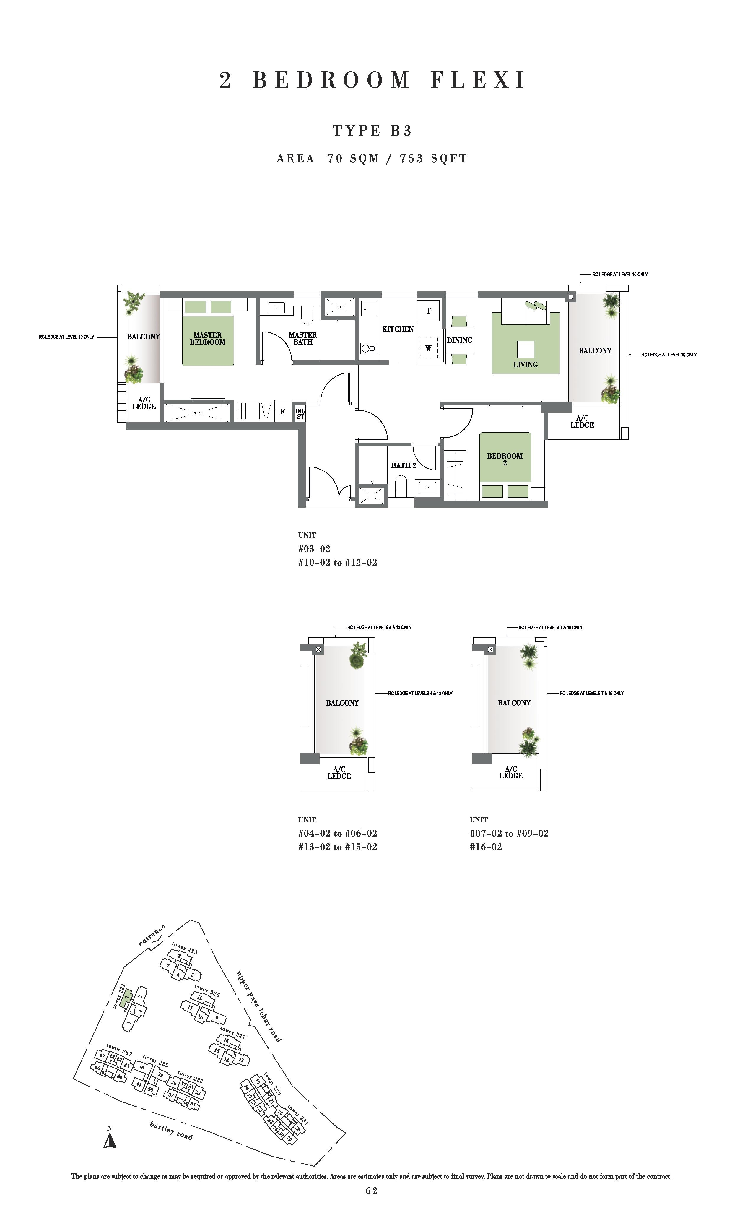 Botanique @ Bartley 2 Bedroom Flexi Floor Plans Type B3