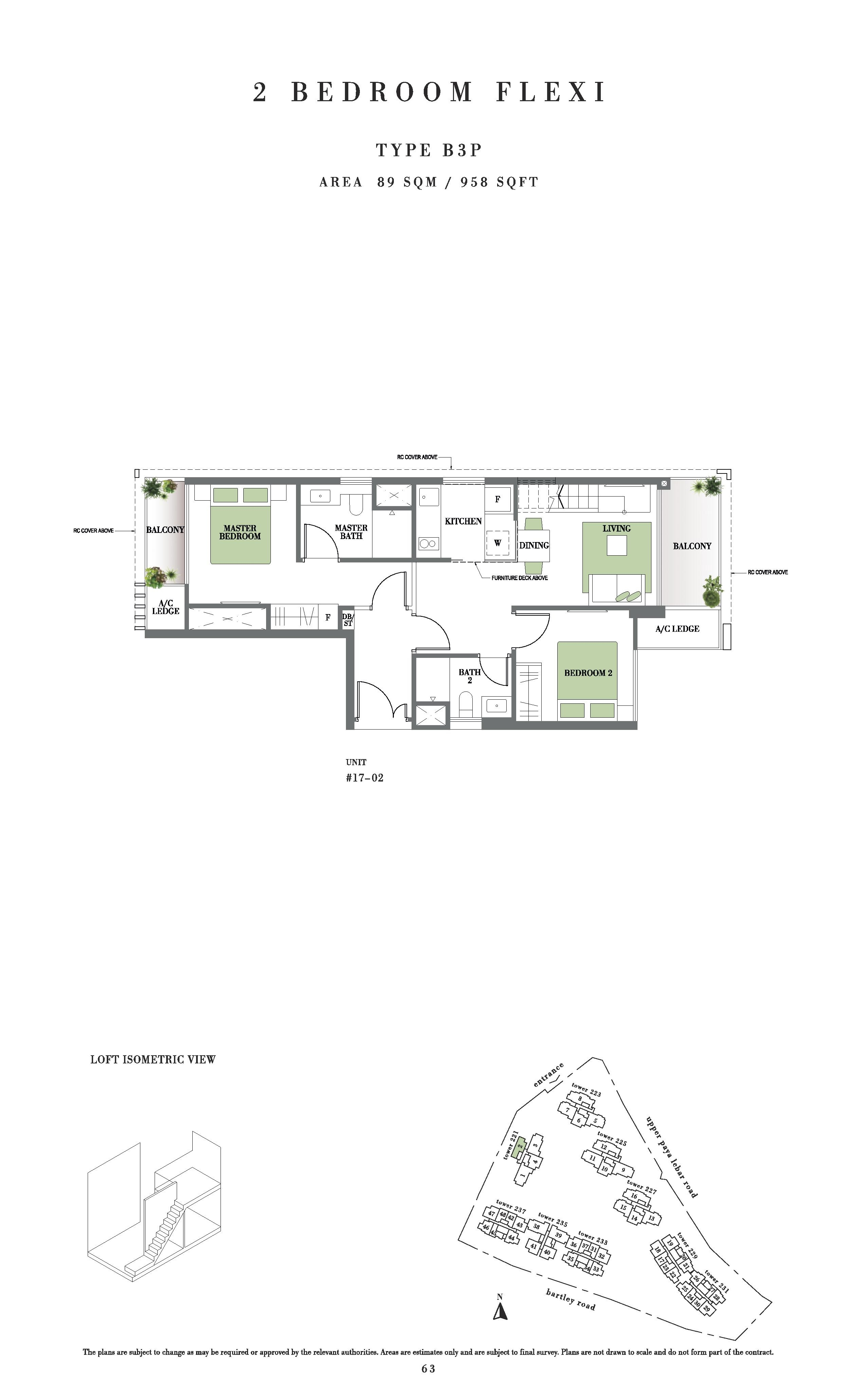 Botanique @ Bartley 2 Bedroom Flexi Floor Plans Type B3P