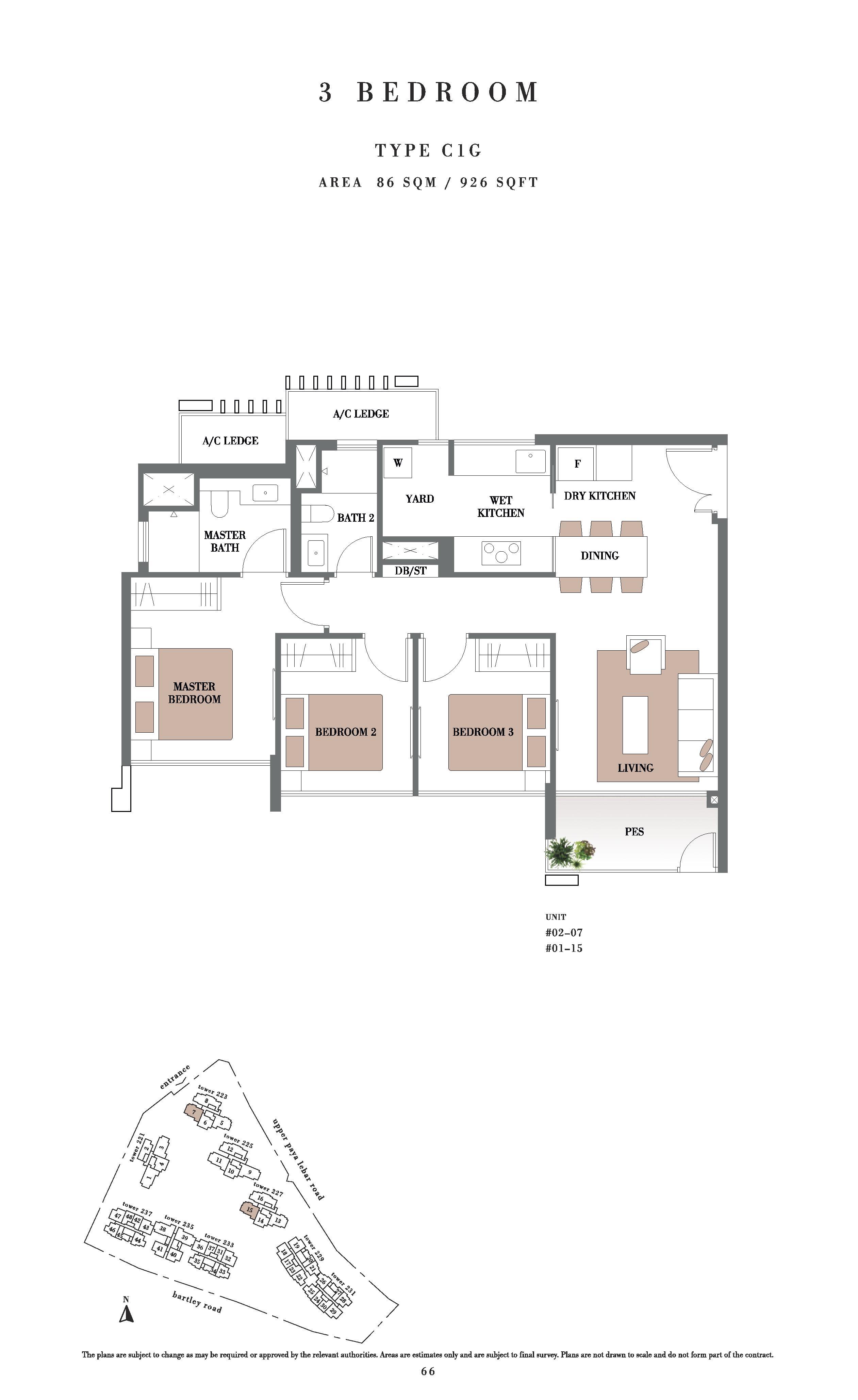 Botanique @ Bartley 3 Bedroom PES Floor Plans Type C1G