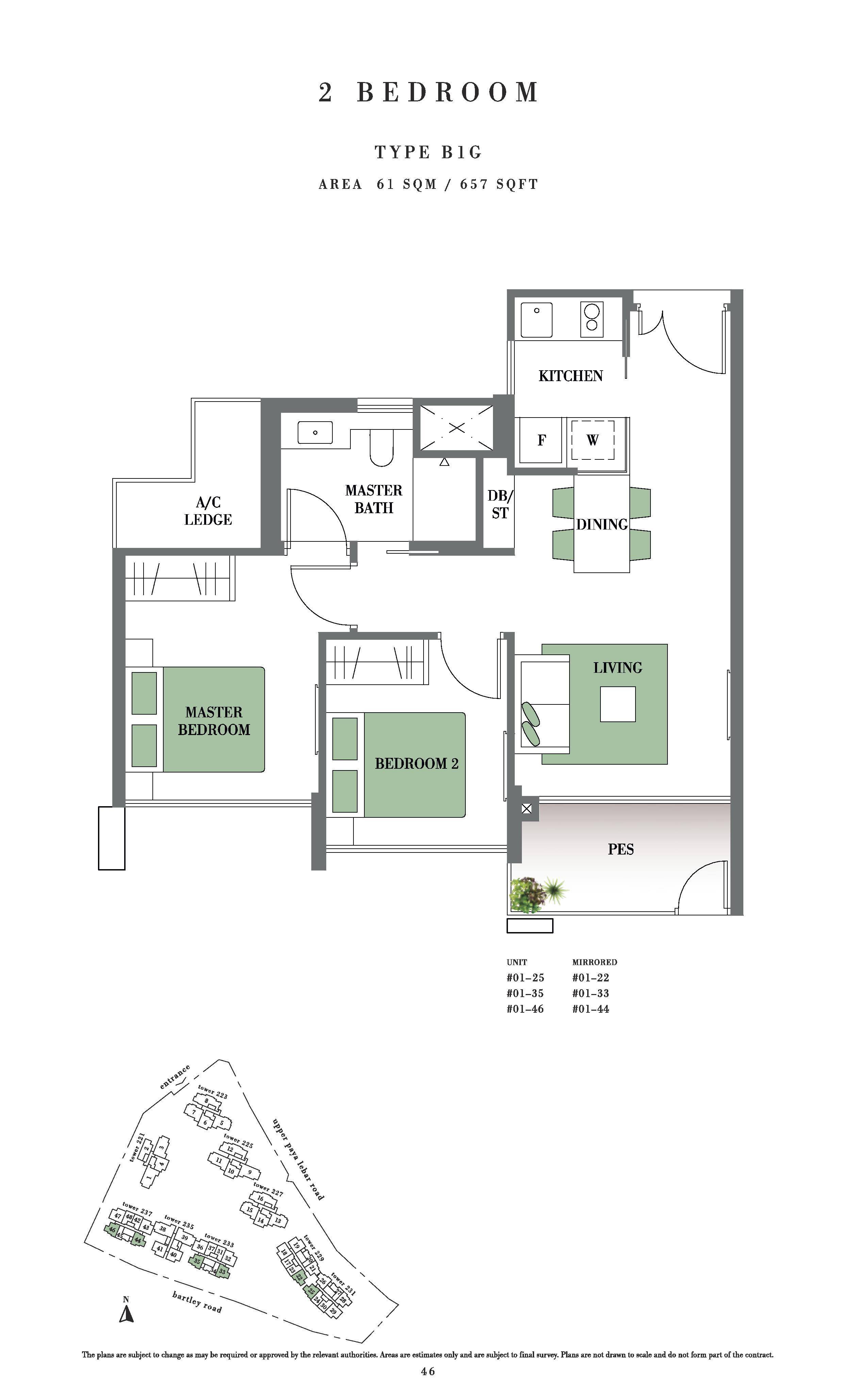 Botanique @ Bartley 2 Bedroom PES Floor Plans Type B1G